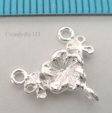 4x STERLING SILVER FLOWER CHANDELIER EARRING NECKLACE CONNECTOR 11.8mm #762
