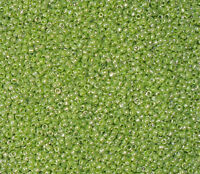 40g opaque lustered glass seed beads olive/lime green, for jewellery, embroidery