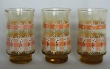 "3 Vintage Peach Amber Gingham Check Lace 4"" Footed Juice Glasses Used"