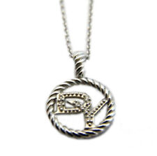 "David Yurman 18"" DY Logo Cable Collectables 18k White Gold/Diamonds Necklace NWT"