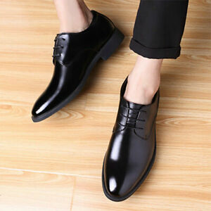 Mens Casual Fashion Business Formal Dress Suit Pointed Toe Oxfords Lace Up Flats