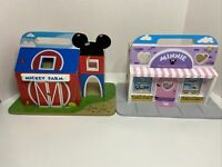 Disney Jr Melissa and Doug Wooden Minnie Sweetheart Cafe & Mickey Farm Buildings