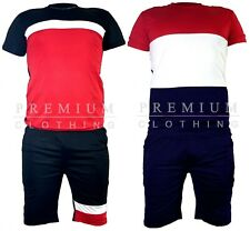 New Mens Polyester Tracksuit Crew Neck T shirt and Shorts Set Top fitted Top