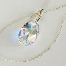 Swarovski Elements 925 Silver Crystal Necklace 22mm Pendant Aurora AB