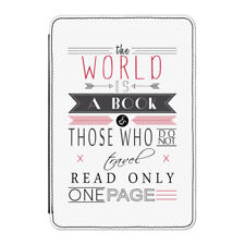 """Le monde est un livre Citation étui Housse Pour Kindle 6"""" E-Reader-voyage vacances"""