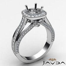 Halo Pave Set 0.9Ct Diamond Engagement Round Semi Mount Milgrain Ring Platinum