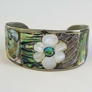 VINTAGE MEXICO SILVER TONE WIDE CUFF ABALONE FLOWER INSET DESIGN