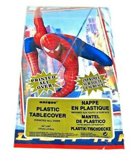 """LARGE MARVEL SPIDERMAN PLASTIC TABLECOVER - TABLE CLOTH 54"""" X 84"""""""