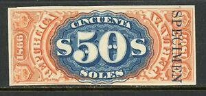 Peru Documentary Revenue 1866-67 50 Soles A&M 6PSa- Plate Proof  Specimen MNG-