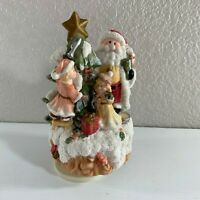 "Santa Claus Decorating Tree Musical Figurine O Christmas Tree Ceramic 8"" Tall"