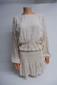 LoveshackFancy Cream Outfit Set Skirt & Top Size M Medium Uk 10-12 VGC Women's