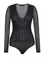 NWT $148 Bcbg Max Azria Black Long Sleeve Geometric Pattern Lace Bodysuit Top XS