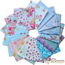 Blue / Sky Floral Fabrics 100% Cotton Material - Fat Quarter bundle, half Metre