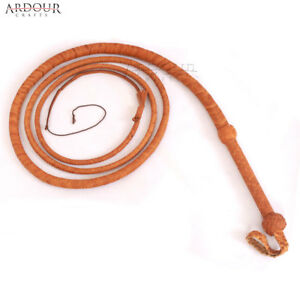 Cow Hide Natural Tan Leather 4 to 10 Feet Long 12 Plait Bull Whip equestrian