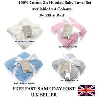 Elli & Raff 2 Pack Newborn Baby Girl Boy Unisex 100% Cotton Hooded Bath Towels