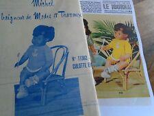 """T6 PATRON POUPEE MICHEL """" MODES ET TRAVAUX"""" LIQUETTE ET CULOTTE SHORT 1972"""