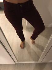 Topshop Jeans Baxter W30 L30 12 Wine Red Burgundy Maroon Low Rise Slim Skinnyleg