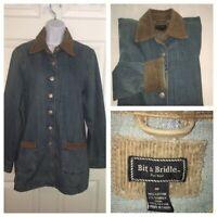 Bit & Bridle Women's Denim Jacket Barn Coat Corduroy Trim Sz M EUC