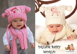Baby Mädchen Kinder Strick Warm Winter Set Mütze mit Schal Größe 6 - 12 Monate