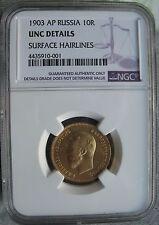 Russia 1903 AP Gold 10 Roubles NGC UNC-DETAILS Nicholas II