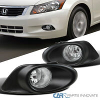 For 08-10 Honda Accord 4Dr Sedan L4 Clear Fog Lights Driving Bumper Lamps+Switch