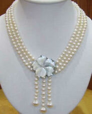 Wonderful!7-8MM 3Rows Natural White Akoay Cultured Pearl Shell Clasp Necklace