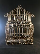 Decorative Bird Cage Wall hanger Gold Metal Rectangle 15 x 5 x 9 Excellent Cond