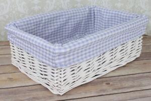 White Wicker Basket & BLUE GINGHAM Liner - Nursery Storage Baby Gift Hamper 35cm