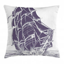 Nautical Throw Pillow Case Old Sail Boat in Sea Square Cushion Cover 18 Inches