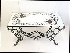 TABLE BASSE VINTAGE 1940 FER FORGE VERT & PLATEAU MIROIR DECOR OISEAUX 40S 40'S