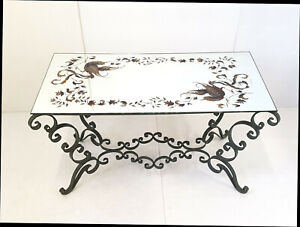 Coffee Table Vintage 1940 Iron Forge Green & Plate Mirror Decor Birds 40S 40'S