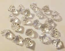 20 Large 20mm Clear Crystal Faceted Diamond Gemstone Acrylic Plastic Craft Beads