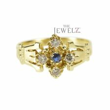 14K Gold Genuine Diamond - Blue Sapphire September Birthstone Vintage Fine Ring