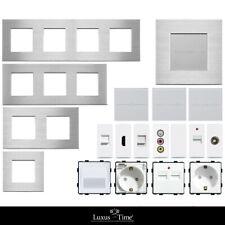 LUX Lichtschalter Alu Rahmen Touch Steckdose Wechselschalter Weiß Blende AT500