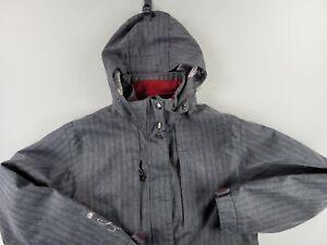 Liquid Boardwear Venture Series Mens Snowboard Ski Jacket Size XL Grey Pinstripe
