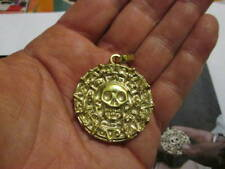 made Yellow Gold 18 K Pirates Caribbean Aztec Skull Medallion