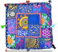 "22"" Square Vintage Patchwork Stool Cotton Pillow Cover Indian Ottoman Floor Pouf"
