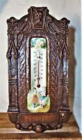 Rare antique Syroco wood thermometer with carved Scotty dog face & children euc