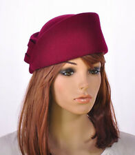 M149 Wine-Red Smart Design Cashmere Wool Lady Winter Hat Fedora Cap Dress Church