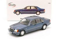 Mercedes-Benz S500 (W140) Baujahr 1994-98 azurit blau / grau 1:18 iScale