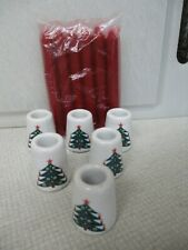 6 Christmas Candle holders & red candles