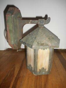 Antique Vintage CARAMELSLAG Arts & Crafts Gothic Hanging Porch Light Fixture