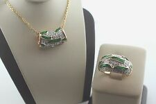 Gold over Sterling Silver Diamond Accent Green Enamel Ring and Slider Necklace