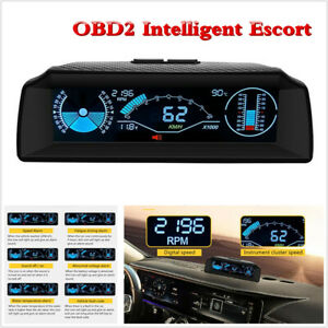 Car Board Computer Head Up Display HUD OBD2 Speedometer Slope Meter Clear Code