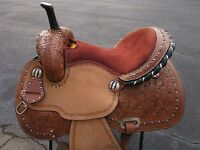 16 BARREL RACING SILVER SHOW PLEASURE COWGIRL TRAIL LEATHER WESTERN HORSE SADDLE