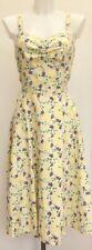 Laura Ashley White Yellow Green Floral Linen Summer Midi Tea Sun Dress Fit 12/14