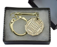 BRITISH BRASS THREE PENCE COIN KEYRING CHOICE OF YEAR 1937-1967 BIRTHDAY