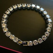 GB SIM Blanco Diamante 190mm Plata Pulsera de tenis (oro blanco GF) En Caja Ciruela UK