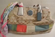 COACH Signature Fabric & MULTI COLOR LEATHER Handbag Tote Bag Purse A1176 F17444