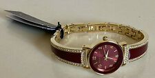 NEW! ANNE KLEIN SWAROVSKI CRYSTALS ACCENTED BURGUNDY RED GOLD BANGLE WATCH $85